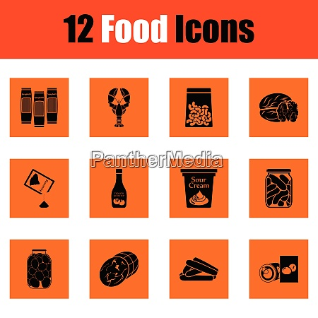 set of food icons orange design