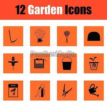 set of gardening icons set of