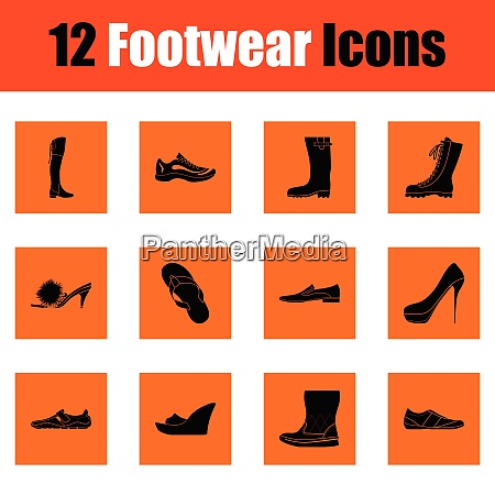 set of footwear icons orange design