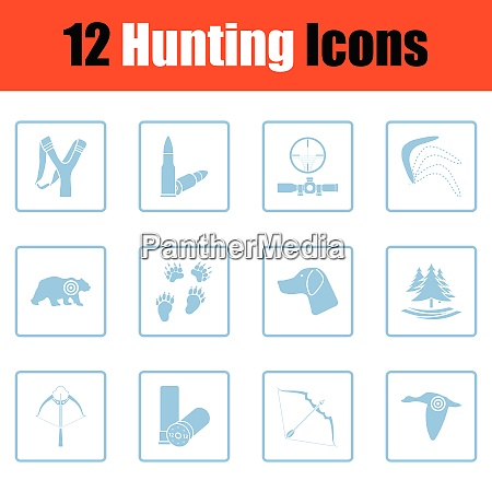 set of hunting icons set of