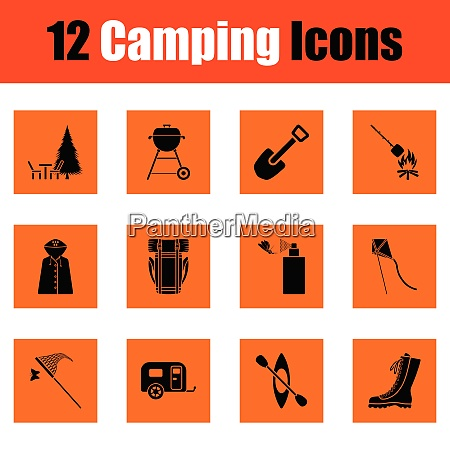 camping icon set orange design vector