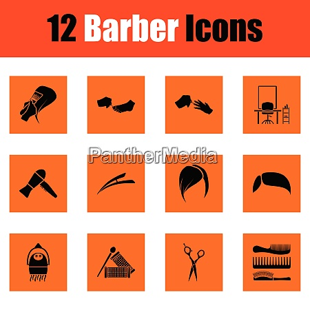 barber icon set orange design vector