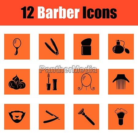 barber icon set orange design vector