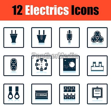 elektrik symbol set schattenreflexionsdesign vektor illustration