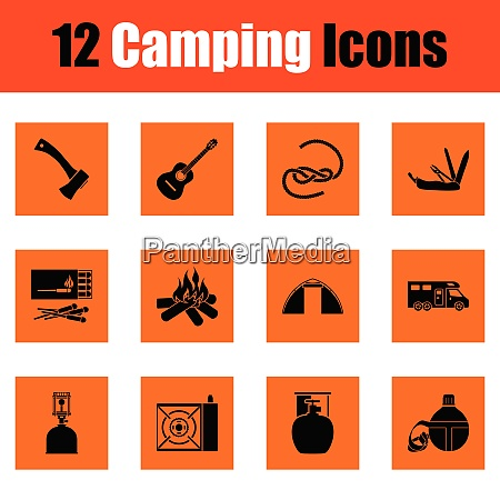 camping icon set orange design vector