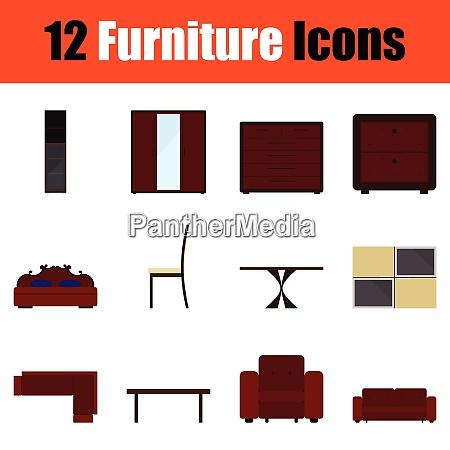 flat design home furniture icon set