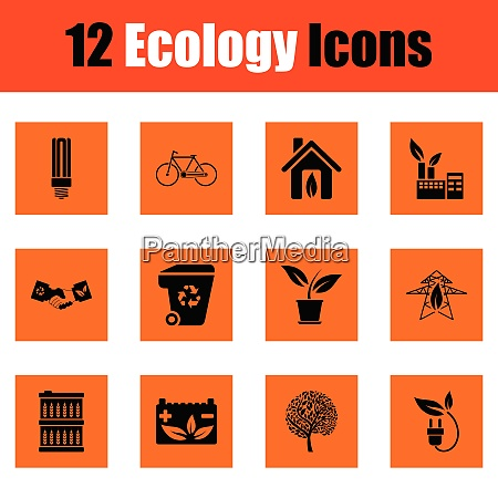 ecology icon set orange design vector