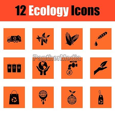 ecology icon set orange design vector