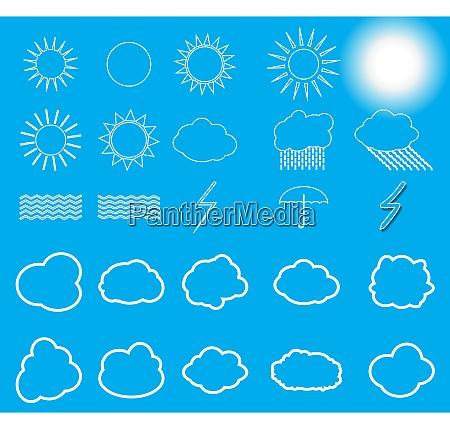 natursymbole sonne wolken gewitter und umbrella
