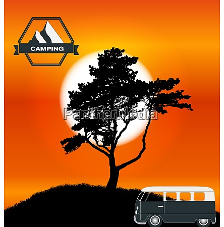 cartoon minibus in nature a tree