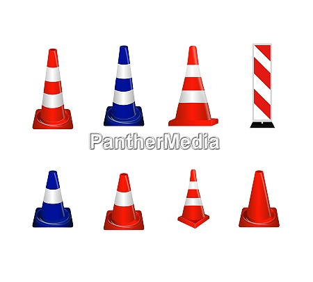 set of road signs orange and