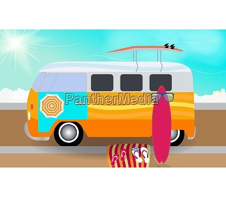 cartoon van with surfboards standing in