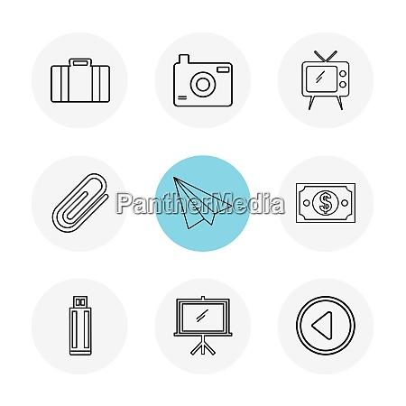 kamera, klick, bilder, fernseher, papiernadel, papierfläche, dollar, spiel, bildschirm, usb, eps-icons, setzen, vektor, icon, vektor, design, wohnung, sammlung, stil, kreativ, icons - 26254946