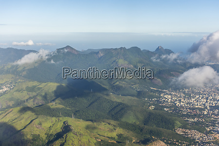 aerial view of forested hills of
