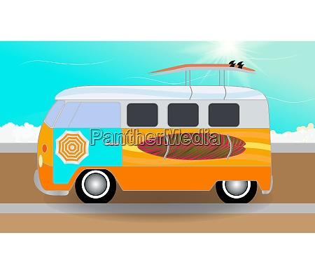cartoon van with surfboards standing in