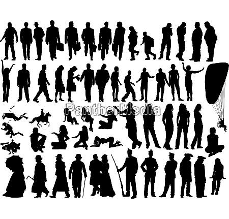 grosse vektor sammlung von verschiedenen silhouetten