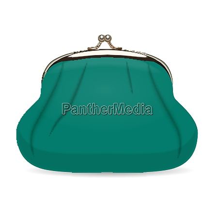 turquoise female wallet realistic vector illustration