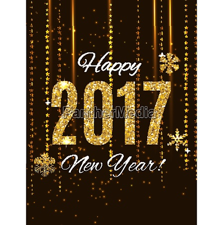 2017 happy new year gold glossy