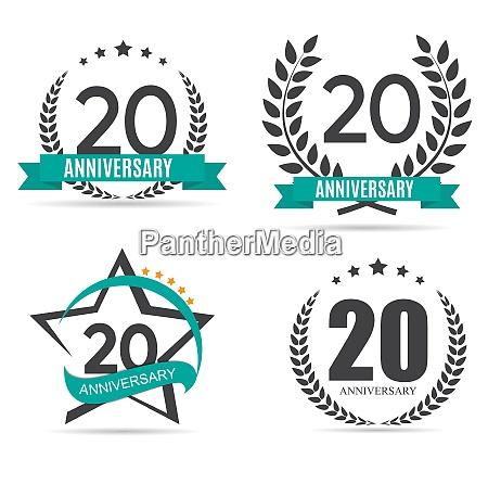 vorlage logo 20 jahre jubilaeum set