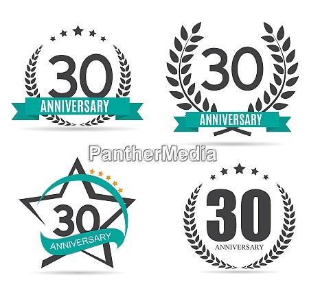 vorlage logo 30 jahre jubilaeum set