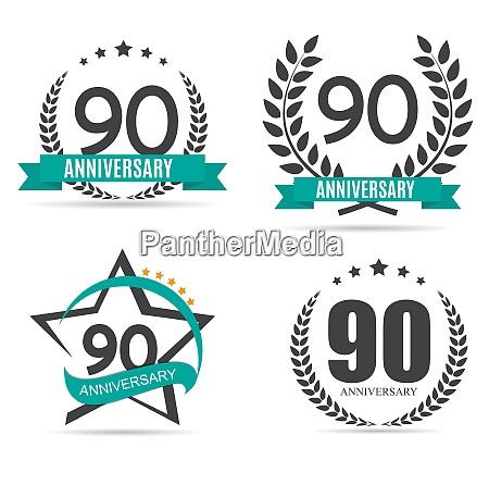 template logo 90 years anniversary set