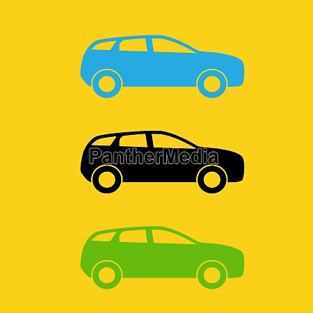 set of colorful car silhouette vector