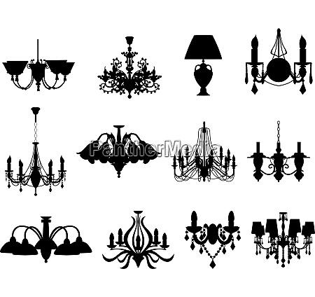 set von verschiedenen lampensilhouetten vector illustration