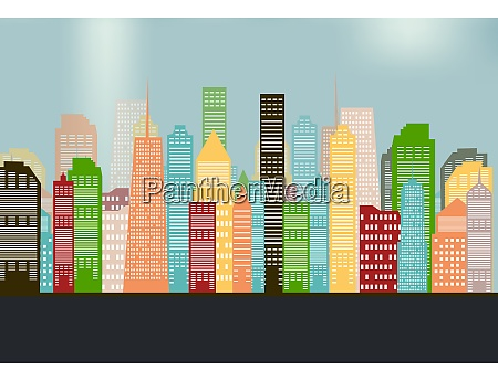 colorful silhouette city background vector illustration