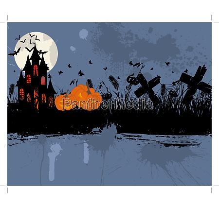 happy halloween theme greeting card vector