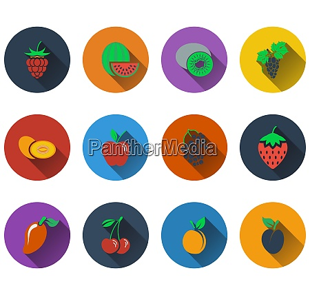 set of fruit icons in flat