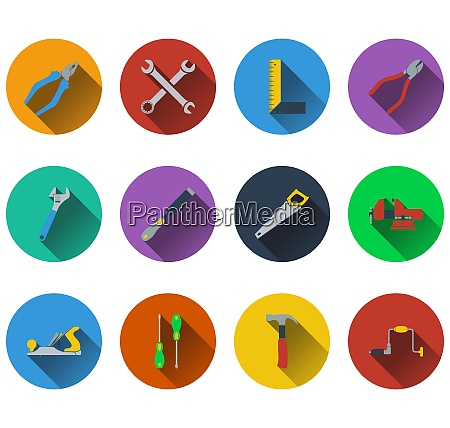 set of tools icons in flat