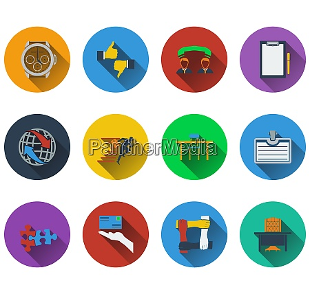 set of business icons in flat