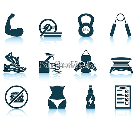 set of fitness icons eps 10