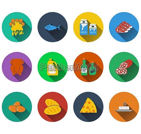 set of food icons in flat