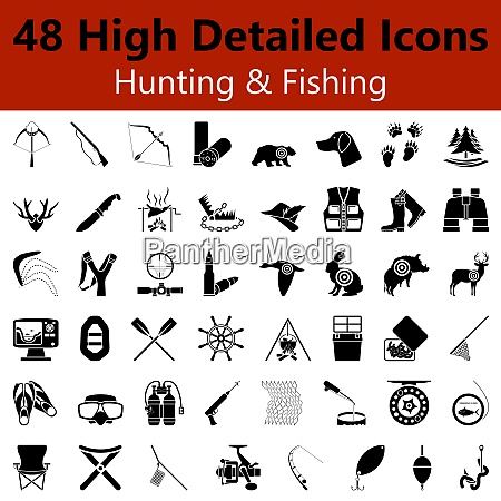 set of high detailed hunting and