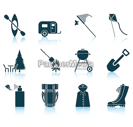 set of camping icons eps 10
