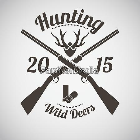 jagd vintage emblem mit ammo und