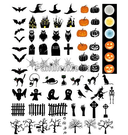 halloween urlaub elemente set sammlung mit