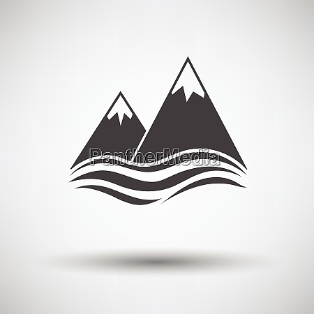 snow peaks cliff on sea icon