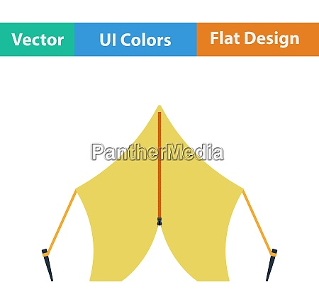 flat design icon of touristic tent