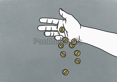 hand dropping us currency coins