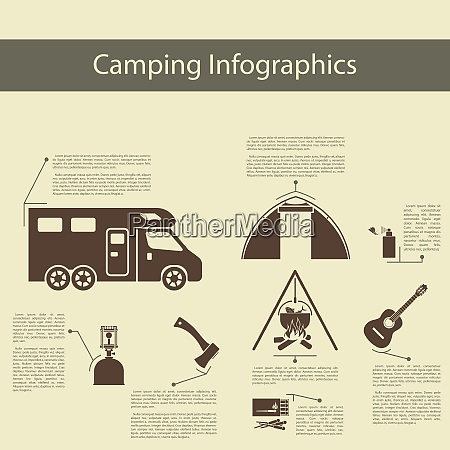 camping infographics with trailer tent