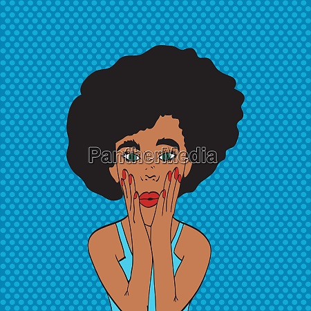 pop art young womans face with