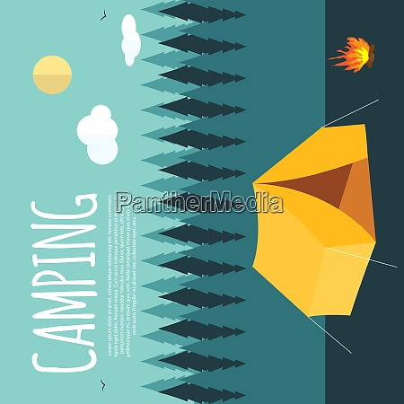 summer camping nature background in modern
