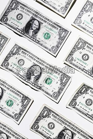 one dollar bills on white background