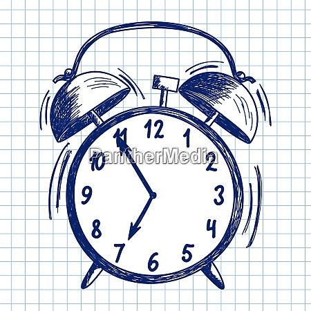 alarm clock doodle sketch on checkered