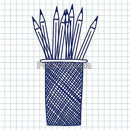 pencil case doodle sketch on checkered