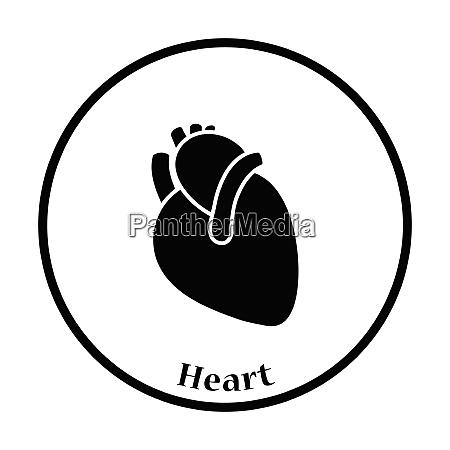 human heart icon thin circle design