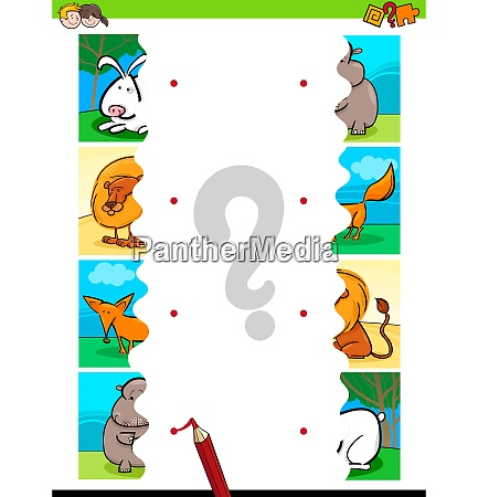 match jigsaw puzzles of cartoon animals