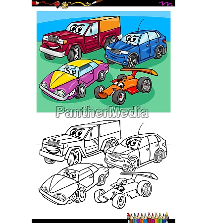car characters group coloring book